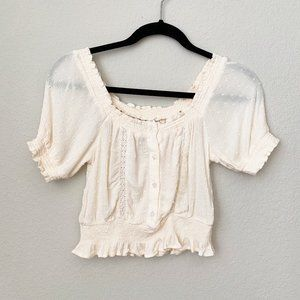 H&M Cream Boho Crop Top with Buttons